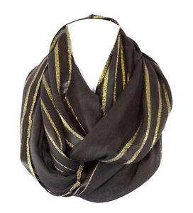 Metallic Black Gold Lurex Stripe Infinity Scarf B22