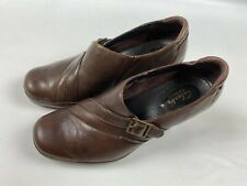 Clarks Artisan Women's Heels Size 7 Brown Leather Buckle Shoes Pre-Owned