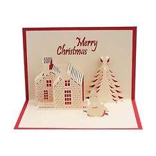 Christmas Cards 3D Pop Up Merry Christmas castle Handmade Custom Greeting CO7A5