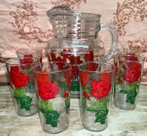 Vintage Pitcher With Ice Lip With Set Of 6 Glasses Red Roses Hand Painted