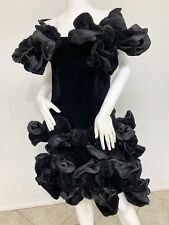 Vintage Anouska Hempel Black Velvet NeoGothic Dress Covered W/Dramatic Bows