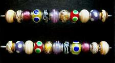 22 Perlen - Beads - für Bettelarmband - Multicolor - Glas - Neu