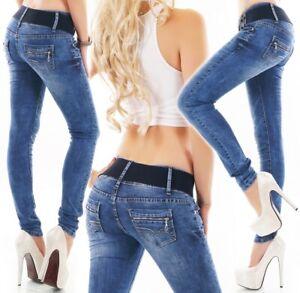 Damen Slim Fit Stretch Röhren Skinny Hüft Jeans Hose 34 36 38 40 42 hell blau