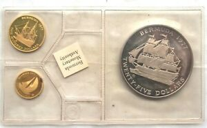 Bermuda 1977 Queen Silver Jubilee Set of 3 Silver Gold Coins,Proof