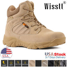 Men's Military Tactical Work Boots Side Zip Juggle Ankle-Mid Hiking Combat Boots