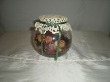 Decorative Clear Glass Bowl W/Potpourri And Lace Doily Cover