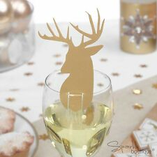 Gold Christmas Stag Glass Decorations/Xmas Party Place Cards -FULL RANGE IN SHOP