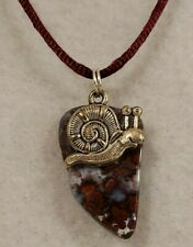Silver Tone Snail w/Polished Stone Pendant on Maroon Satin Cord Necklace-Jewelry
