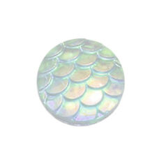 100pcs 12mm Flatback Resin Fish Scale Pattern Round Cabochon