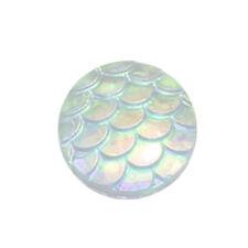 100pcs 12mm Flatback Resin Fish Scale Pattern Round Cabochon Nice Best