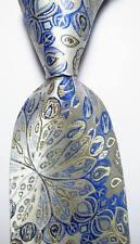 New Classic Floral Paisley Gray Blue Beige JACQUARD WOVEN Silk Men's Tie Necktie