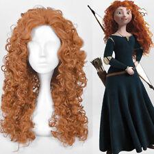 Disney Princess Merida Brave Cosplay Wig Long Perm Curly Orange Synthetic Hair
