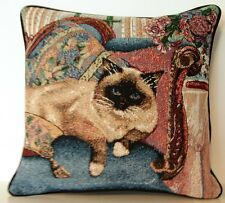 Siamese Cat w/ Dark Points On Blue Couch, Pillows, Flowers Tapestry Pillow New