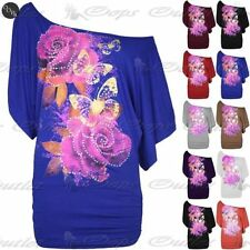 Womens Ladies Print Baggy Ovresized Off Shoulder Bardot Side Ruched T Shirt Top