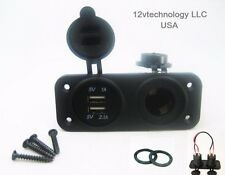 Dual USB Charger and Socket Panel Mount Marine 12 Volt Boat Jack Power Outlet