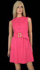Vintage 60s MINI DRESS Mod Sleeveless Sheath Hot Pink Fuchsia Kelly Arden fits 8