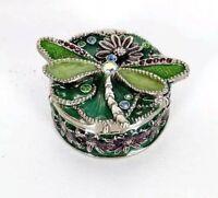 Monet Signed Dragonfly Jeweled Enamel Hinged Trinket Box