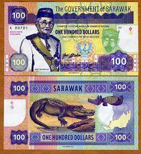 Sarawak, Malaysia, 100 dollars, 2017, Private Issue, UNC > Calm Crocodile