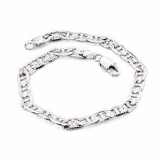 Ladies 18k White Gold GP Marina Chain Link Bling Bracelet 4mm L12
