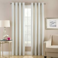 Cheshire Chevron 95-Inch Grommet Top Lined Window Curtain Panel in White