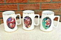 Set 3 Coca Cola Santa Gold Trim Mugs 1996 Collector Edition Christmas Cups