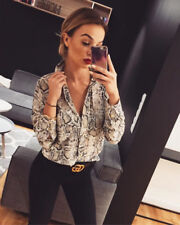 Women Leopard Print Top Long Sleeve V-Neck Autumn Loose irregular T-Shirt Blouse
