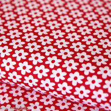 Baumwollstoff Baumwolle Blumen Weiß 10mm Groß auf Rot Baumwolle