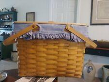 New ListingLarge Longaberger 2000 Picnic/Market Basket W/Double Swing Handles & Lid