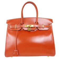 HERMES BIRKIN 35 Hand Bag 11◯Z Purse Brown Box Calf Vintage France Auth 90103