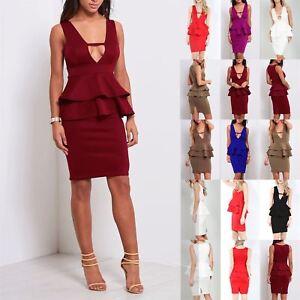 Ladies Women Sleeveless V Neck Back Split Double Frill Peplum Bodycon Mini Dress