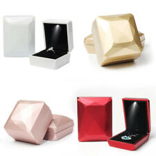 LED Lighted Jewelry Necklace Ring Box Earring Holder Wedding Velvet Gift Box