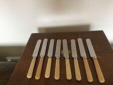 """UNBOXED LOT OF 8 IVORINE HANDLED DESSERT KNIVES 8.25""""  {DK 128}"""