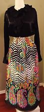 2 pc 60s Mod Colorful Satin Maxi Skirt Black Silky Top Large USA Holiday Retro
