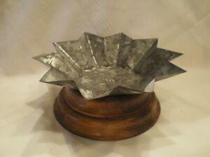 Wood & Galvanized Metal Primitive Candle Holder Vintage Tender Heart Treasures