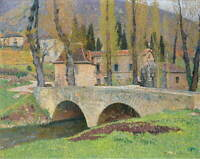 Henri Martin The Bridge In Labastide Poster Reproduction Giclee Canvas Print