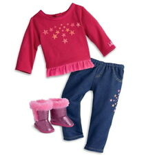 """American Girl Starry Outfit For 18"""" Luciana Doll ~Star Tee Jeans Pink Boots NEW"""