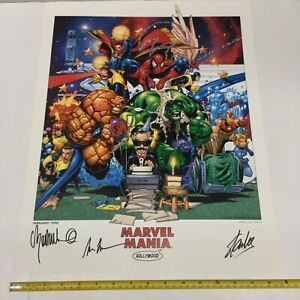 "Marvel Mania Hollywood 1998 16x20"" Lithograph Stan Lee SIGNED x3, NUMBERED #425"