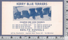 C039 Berlyd Kennel, Kerry Blue Terrier, Lydia Vogel dog breeder card Agawam, Ma