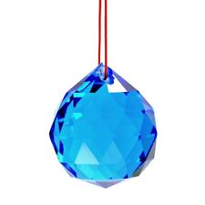 """BLUE FENG SHUI HANGING CRYSTAL BALL 1.5"""" 40mm Sphere Prism Faceted Sun Catcher"""