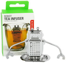 Kikkerland ROBOT Stainless Steel Loose Tea Infuser + Drip Tray/bye tea bags CU38