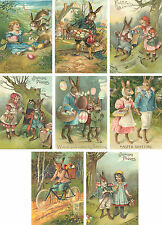 Vintage Easter 8 bunny rabbit antique pictures note cards tags with envelopes