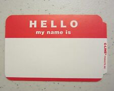 "50 RED ""HELLO MY NAME IS""  NAME TAGS LABELS BADGES STICKERS PEEL STICK ADHESIVE"