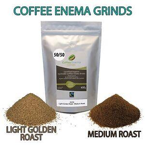 COFFEE ENEMA GRINDS 400g 50/50 LIGHT MEDIUM GERSON AIR ROASTED ORGANIC FAIRTRADE