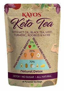 Kayos Keto Tea With MCT Oil Black Tea Mint Turmeric for Weight Loss No Sugar 70g