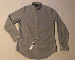 Mens Ralph Lauren Button Down Shirt long sleeve stretch white black checks Small