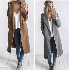 Women Warm Wool Lapel Long Jacket Trench Coat Parka Overcoat Winter Outwear