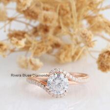 1.5Ct Brilliant Round Cut White Moissanite Wedding Engagement Ring 14K Rose Gold