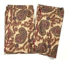 "Handmade Paisley Print Curtains Drapes Set of 2 Panels Purple Brown Tan 92"""