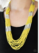 """Paparazzi Jewelry """"Let it Bead"""" Seed Bead Necklace set Yellow"""