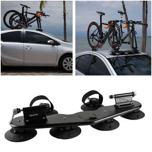 Heavy Duty 2-Bike Fork Mount Roof Fit Car Rack Bike Carrier w/ Rear Wheel Straps